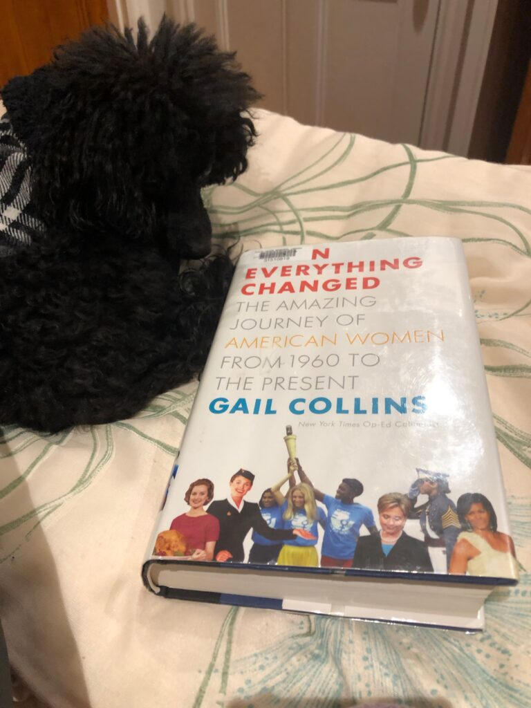 "A picture of my poodle Rosie looking at the book ""Everything Changed"" by Gail Collins"