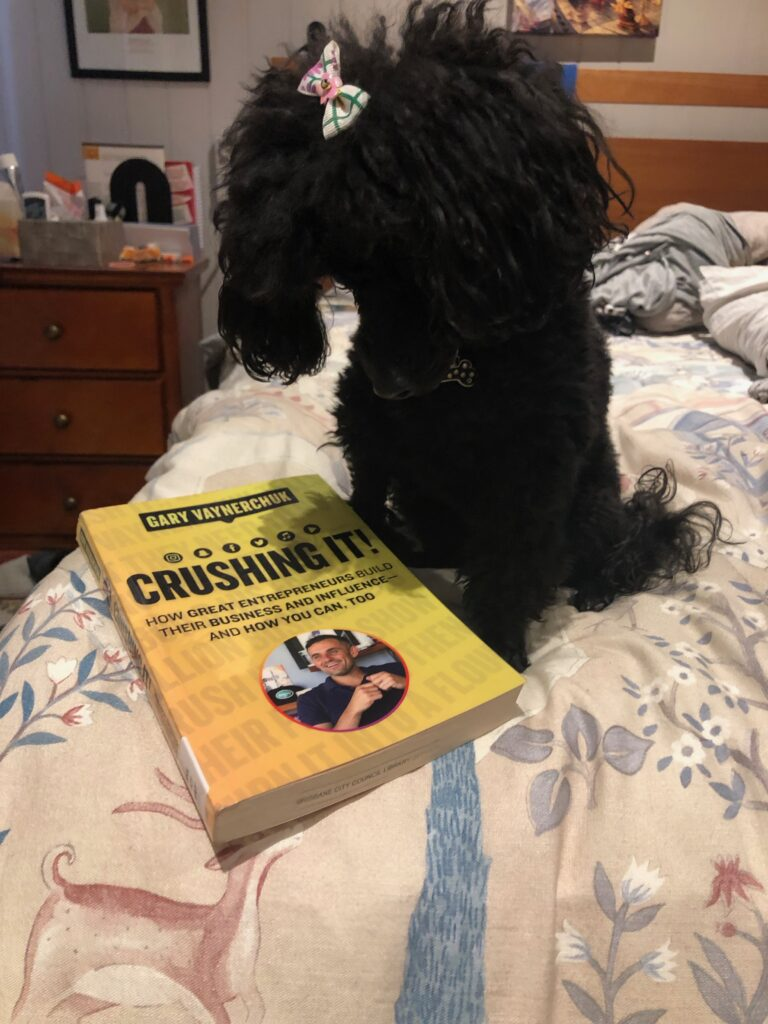 "My dog Rosie, wearing a bow, with the book ""Crushing It"" by Gary Vaynerchuk"
